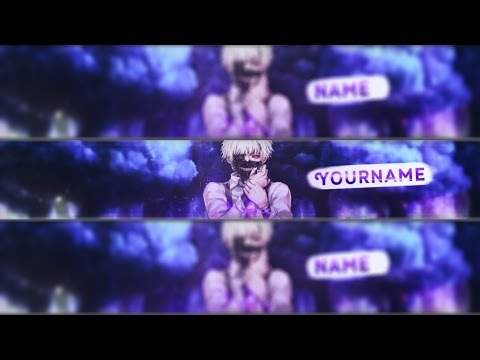FREE Anime youtube banner template#40 Photoshop + Tutorial - YouTube - youtube banner template photoshop