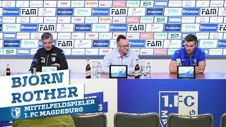 Pressekonferenz vor dem Spiel 1. FC Magdeburg gegen Hamburger SV