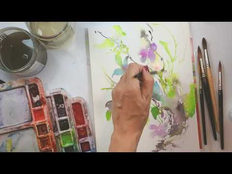 Butterflies and Flowers with Intuitive Brush Strokes and no sketching in watercolour