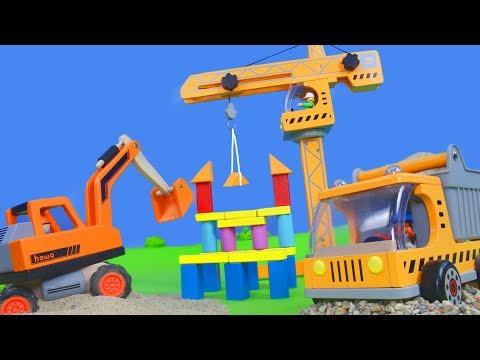 Bagger, Kran, Truck, Spielzeugautos, Lastwagen Traktor & LKW Baustelle für Kinder | Holz Spielwaren