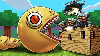 minecraft   killer pacman base defense challenge pacman exe army vs fort