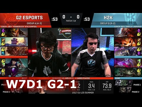 G2 eSports vs H2K Gaming   Game 1 S7 EU LCS Summer 2017 Week 7 Day 1   G2 vs H2K G1 W7D1