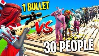 1 BULLET VS 30 PEOPLE (FORTNITE)