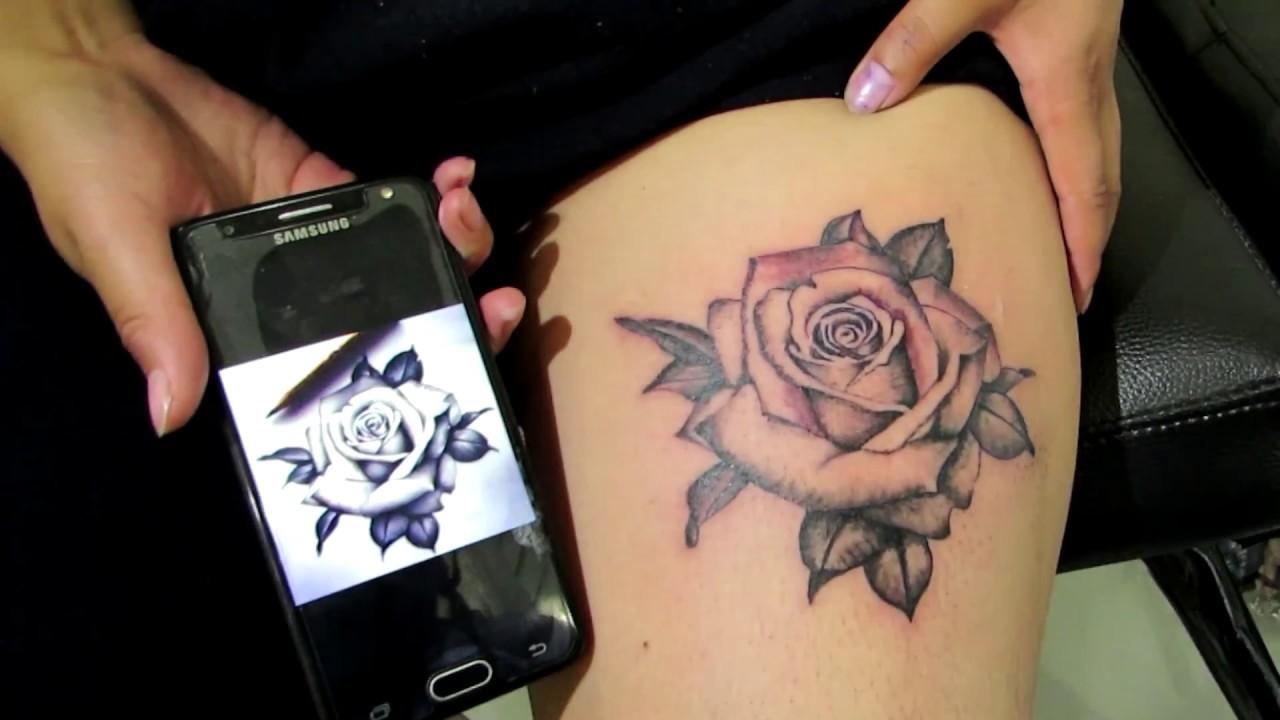Tatuaje Terminado Una Rosa En La Pierna Youtube