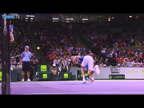Novak Djokovic Lunges For Hot Shot Volley