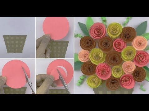How To Make Paper Handicraft Flower Instantly Eti S Etc Youtube