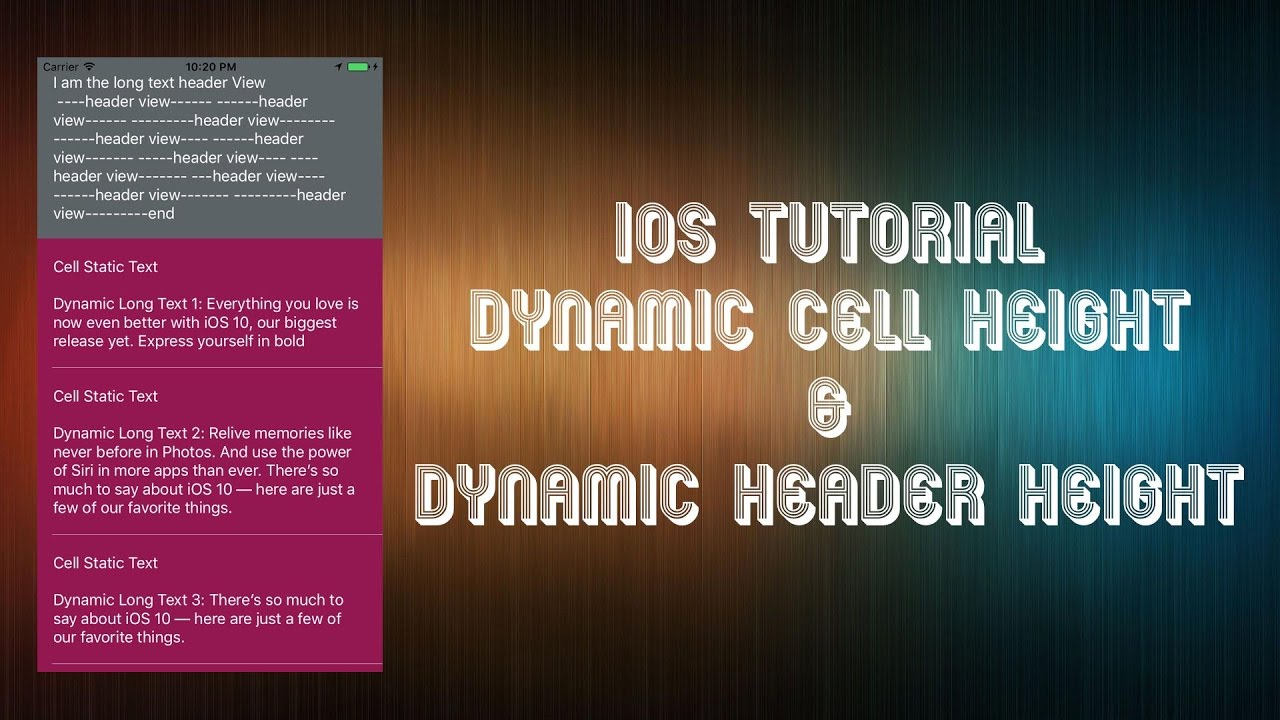 iOS Swift Tableview Dynamic Cell Height & Dynamic Header Height Xcode 8