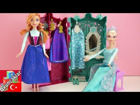 Karlar Ülkesi Frozen: Karlar Kraliçesi Elsa Ve Anna Için Dolap - Oyuncak Bebek Tanıtımı!