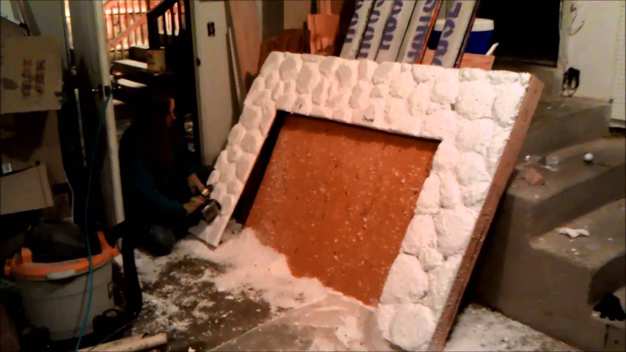 Carving a stone fireplace out of styrofoam - YouTube