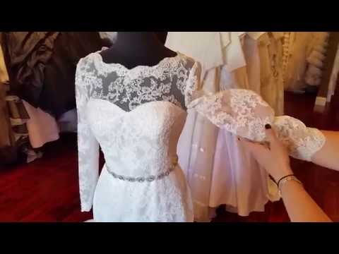 French lace wedding dress with sleeves - YouTube