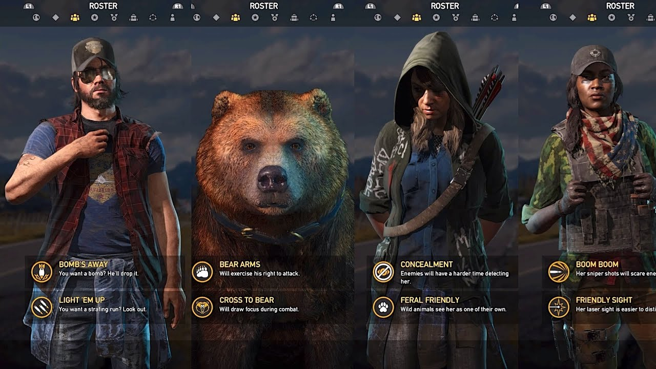 Far Cry 5 All Specialists Characters Gameplay Showcase Youtube