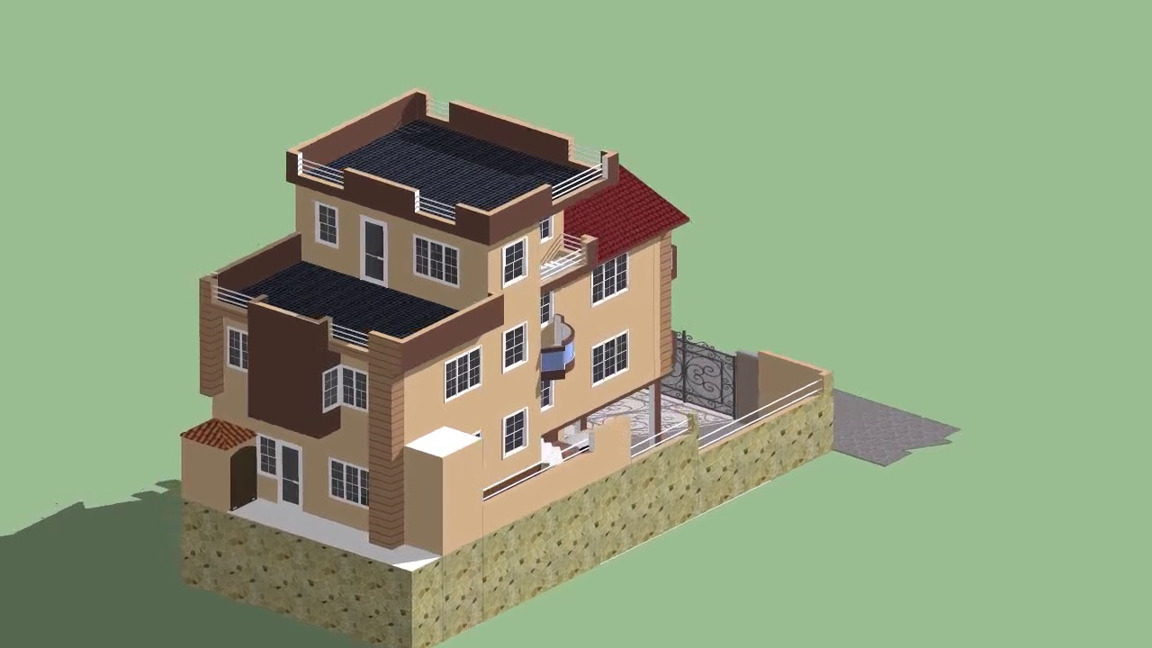 3 D Design Of Residential Building At Kathmandu Nepal