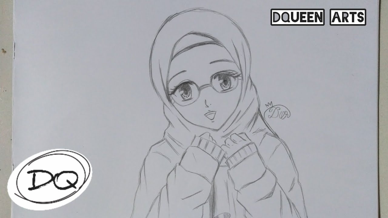 WOW! Cara Menggambar Anime HIJAB Berkacamata buat PEMULA | How to ...