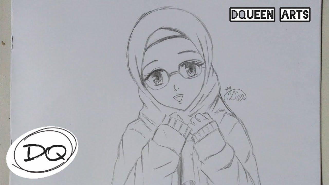 Wow Cara Menggambar Anime Hijab Berkacamata Buat Pemula How To Draw Anime Hijab Wearing Glasses Youtube