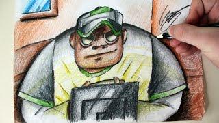 Desenhando o Russel Hobbs [Gorillaz Drums] - (Drawing Russel) - SLAY DESENHOS #178