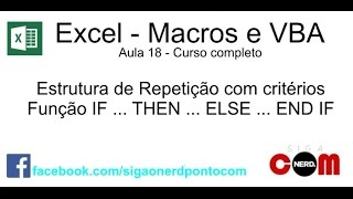 #18 - Curso de Macros e Excel VBA - IF Then Else