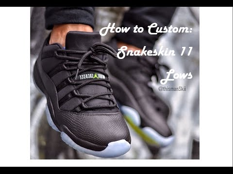 5927dc2d1fe How To Customize Jordan Snakeskin 11 Low  Nightshade to Blackout ...