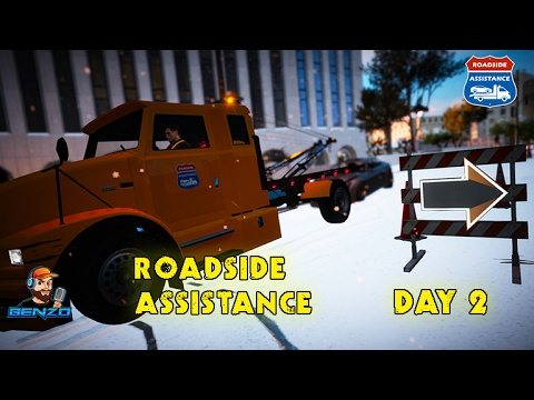 GTA 5 - Day 2 - Roadside Assistance in Snow - Simulation Sunday