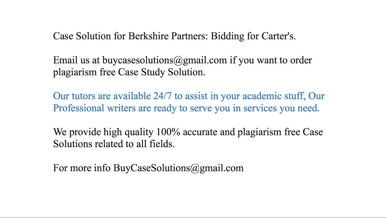 berkshire partners bidding for carters case solution