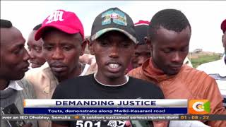 Matatu touts protest for the murder of their colleague