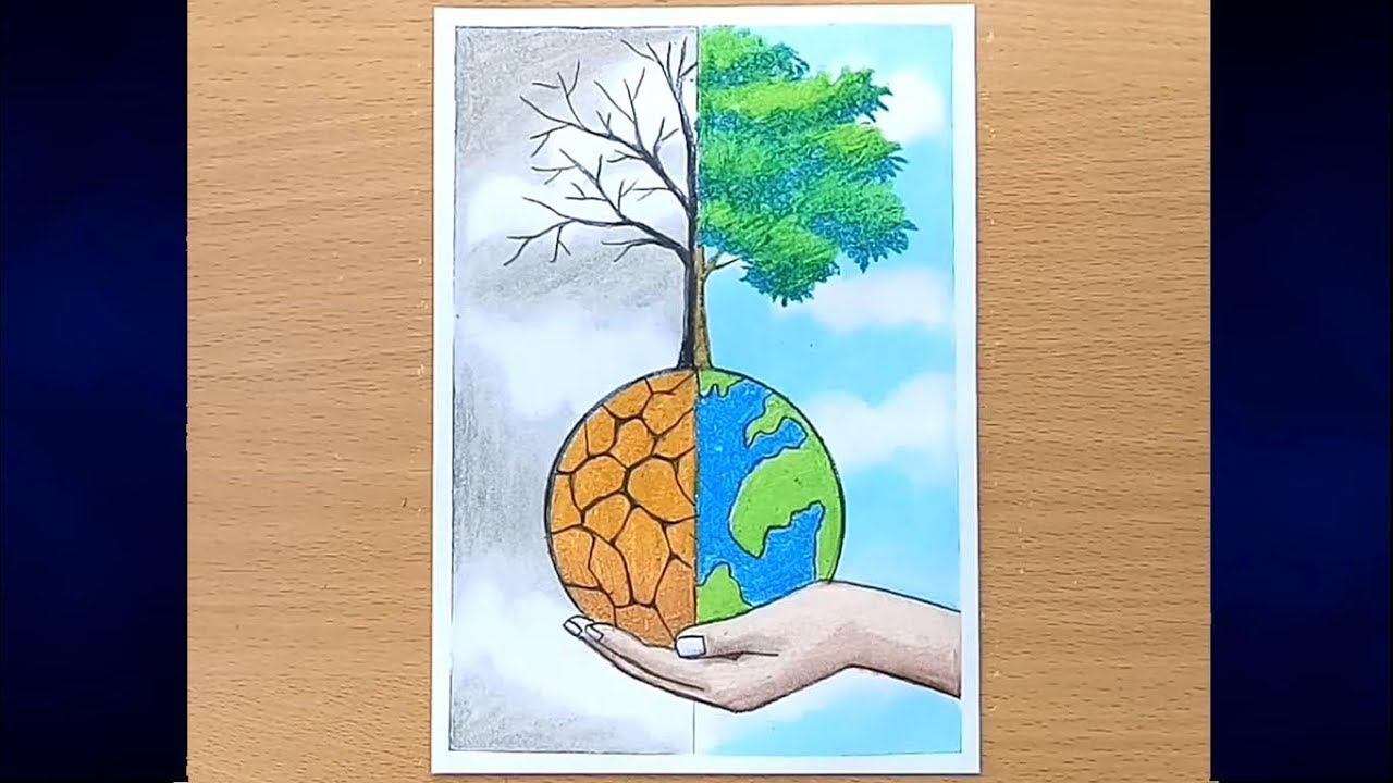 How to draw save water save nature step by step farjana drawing academy