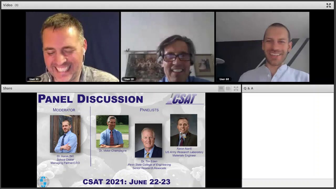 CSAT 2020 Panel Discussion: Tim Eden, Aaron Nardi, and Victor Champagne