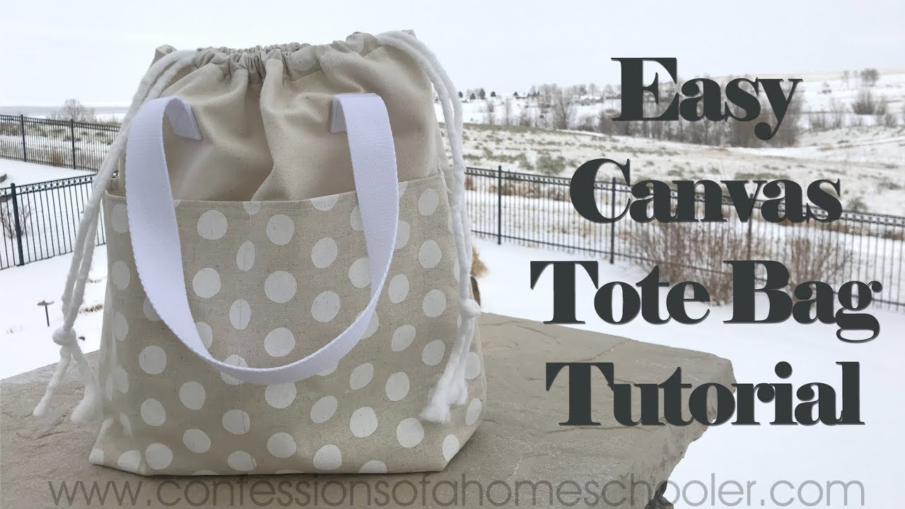 Easy Canvas Tote Bag // SEWING TUTORIAL!!