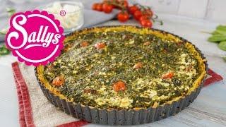 Spinat-Feta-Quiche mit Röstiboden / herzhafter Kartoffelkuchen