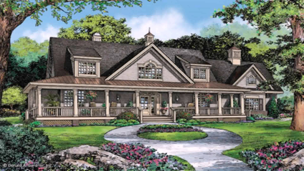 One story ranch style house plans with wrap around porch for 1 5 story homes