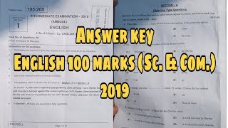 Answer Key || English 100 marks (sc. & Com.) 2019