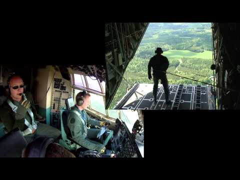 C-130 Hercules Cockpit GoPro Parachute jump with 4 cameras - Must se!