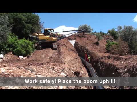 Volvo Rotating Pipelayers working in steep slopes