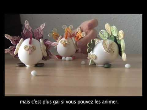 Quilled egg chicken decoration youtube for Decoration paques