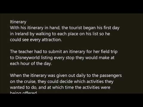 Itinerary word in sentence with pronunciation - YouTube