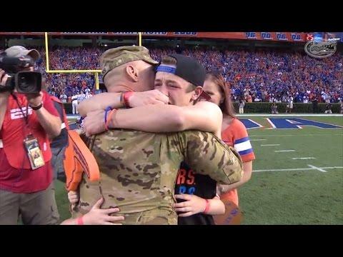 Watch Military Dad's Shocking Return, Surprising His Family At Gators Game
