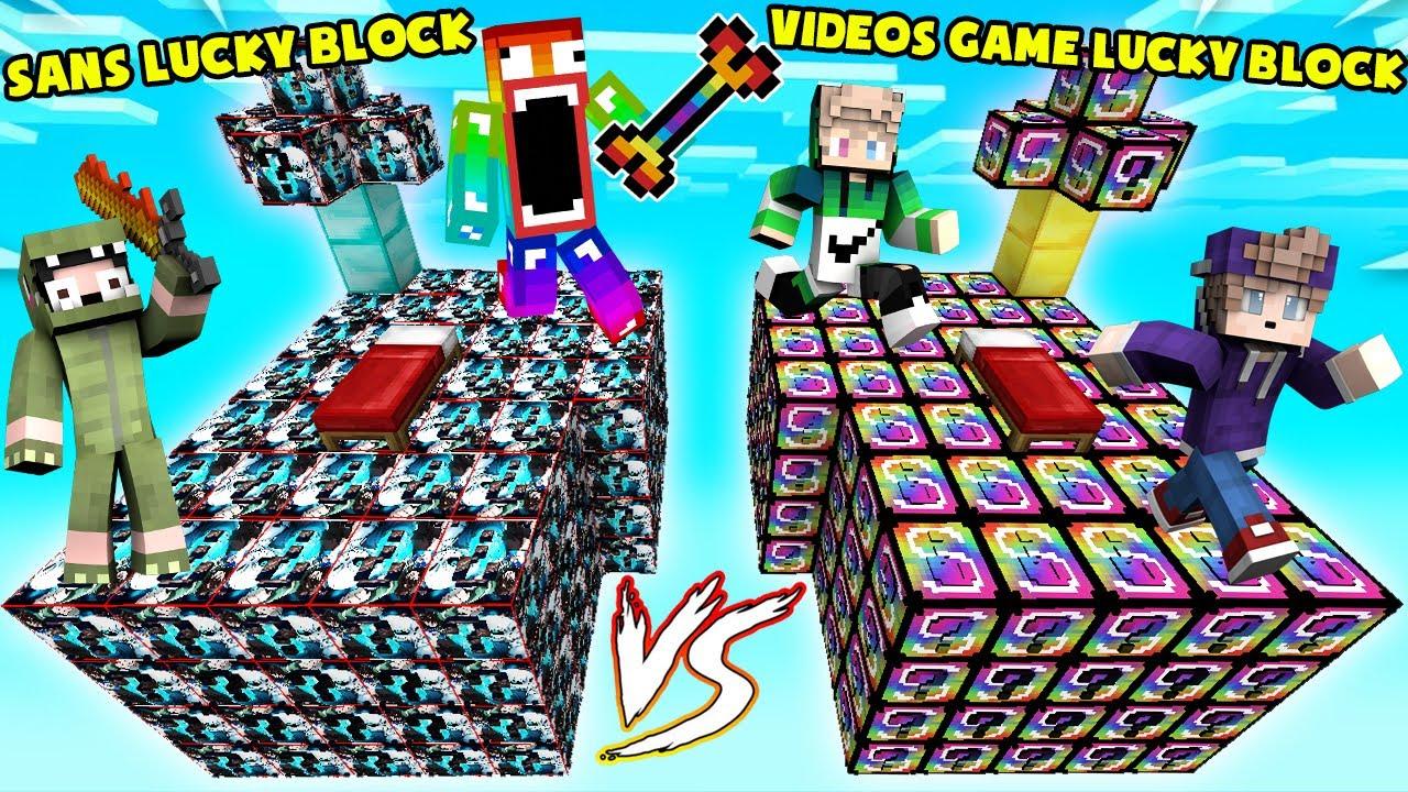 MINI GAME : SANS VS VIDEOS GAME LUCKY BLOCK BEDWARS ** T GAMING CÓ CHIẾC XƯƠNG CẦU VỒNG CỦA SANS ??