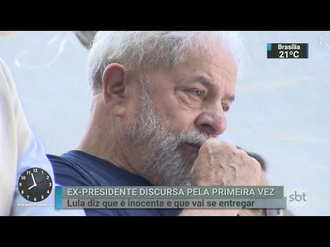 Veja como foi o primeiro pronunciamento de Lula após ordem de prisão   SBT Brasil (07/04/18)