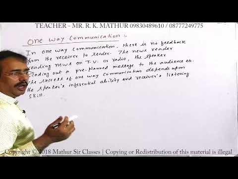 One way communication communication | Business Communication | Business Studies | Mathur Sir Classes