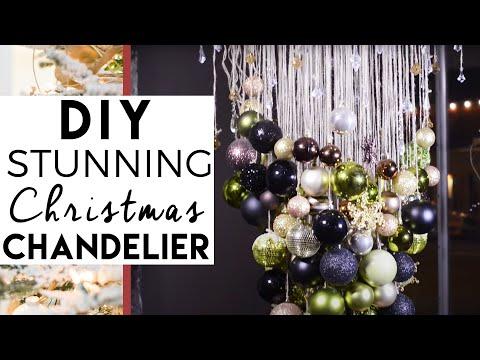 diy christmas ball chandelier christmas decorations