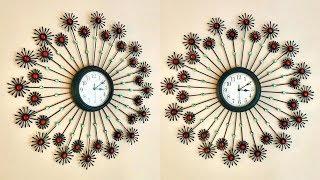 Diy Floral Designer Wall Clock Using Cotton Buds / Home Decoration Ideas   #019  