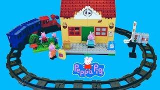 Peppa Pig Train Ride Mega Blocks Train Station Construction Set - Peppa Pig Toys English Episodes