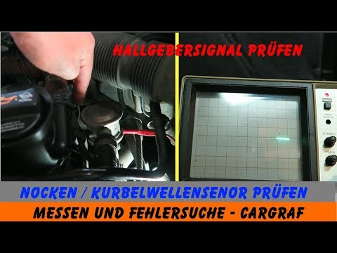 Nockenwellen / Kurbelwellen-Sensor prüfen - Hallgebersignal - Oszilloskop