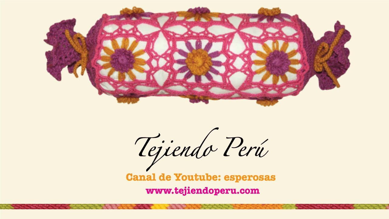 Almohada o cojín caramelo tejido en telar reloj y crochet - YouTube