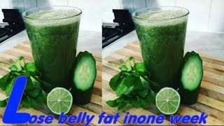 How To Lose Belly Fat In One Week With A Smoothie Drink Made With Lime, Cucumber And Mint