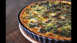 Ispanaklı Kiş Tarifi | Kremalı Mantarlı  Spinach Quiche Recipe