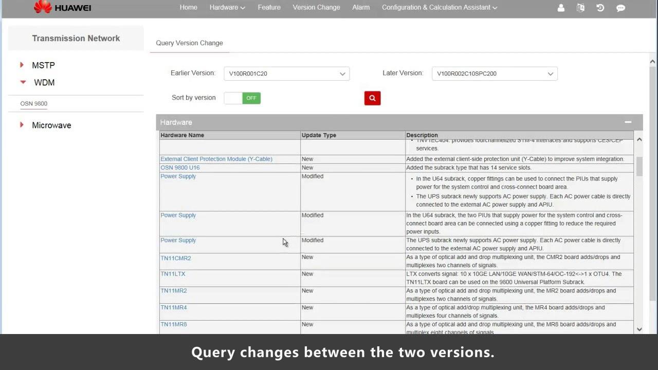 Huawei Tool Usage Guide: Version Change Finder Tool