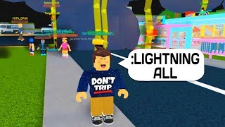 LIGHTNING VS EVERYONE! ADMIN COMMANDS TROLLING IN ROBLOX!