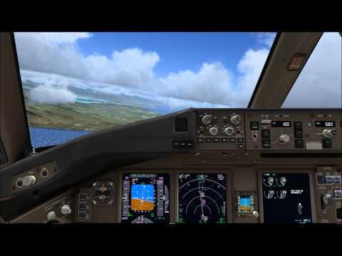 Korean Air 053 Landing At Honolulu With Cockpit View,fsx,pmdg 777