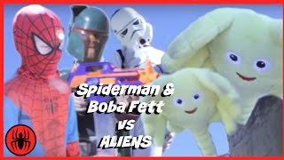 SPIDERMAN & BOBA FETT vs ALIEN Superheroes Fun in Real Life comic | SuperHero Kids