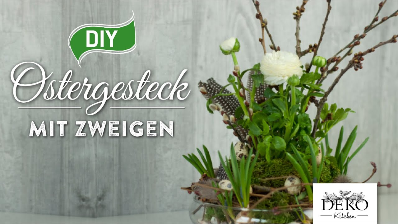 DIY hbsches Ostergesteck mit Zweigen How to  Deko